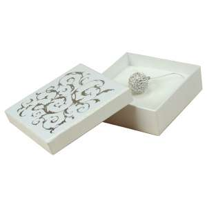 Pudełko LENA uniw.duże białe+srebrny nadruk