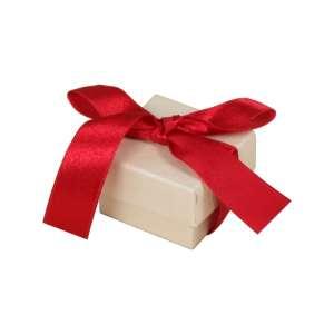 LENA Ring Jewellery Box  - Ecru with burgundy ribbon