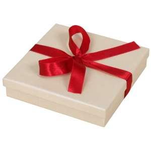 LENA Neckalce Jewellery Box  - Ecru with burgundy ribbon
