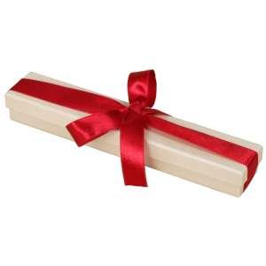 LENA brancelet Jewellery Box - Ecru with burgundy ribbon